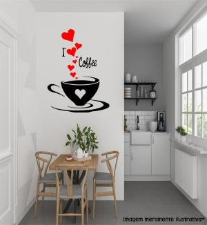Adesivo de Parede I Love Café Vinil Adesivo    Refile Especial