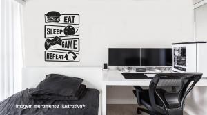 Adesivo de parede gamer (Eat, sleep, game, repeat) Vinil Adesivo    Refile Especial