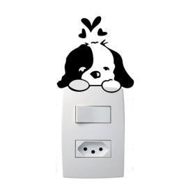 Adesivo de Parede para Interruptor Cachorrinho Apaixonado Vinil Adesivo 8 x 7 cm   Refile Especial