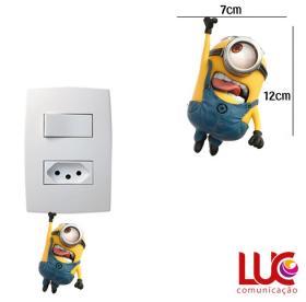 Adesivo de Parede para Interruptor Minions Vinil Adesivo 7 x 12 cm   Refile Especial