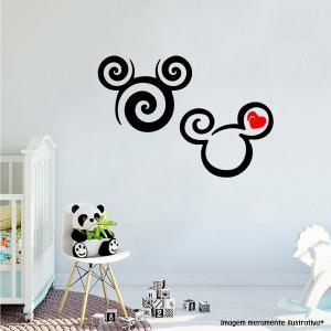 Adesivo de Parede Silhueta Mickey e Minnie Mod2 Vinil Adesivo    Refile Especial