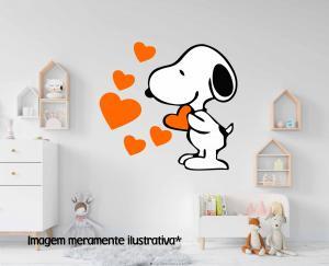 Adesivo de Parede Snoopy com Coração Vinil Adesivo    Refile Especial