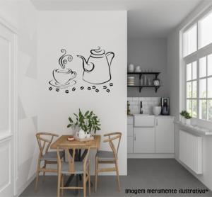 Adesivo de Parede Cozinha Hora do Café Vinil Adesivo    Refile Especial