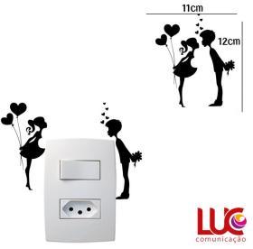 Adesivo de parede para Interruptor Casal de Namorados Vinil Adesivo 11 x 12 cm   Resfile Especial