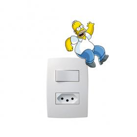 Adesivo de parede para Interruptor Homer Simpson Vinil Adesivo 8 x 5 cm   Refile Especial
