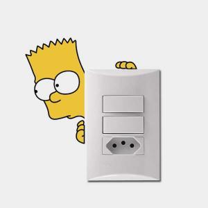 Adesivo de parede para Interruptor Bart Simpson Vinil Adesivo 5 x 8 cm   Refile Especial