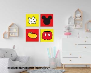 Kit 04 Placas Decorativa Mickey MDF Adesivado    Refile Reto