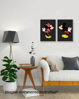 Kit Placa Decorativa Mickey e Minnie MDF Adesivado    Refile Reto