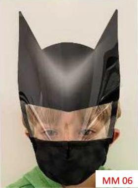 Máscara Proteção Facial Infantil com Face Shield - Batman Poliester e Algodão
