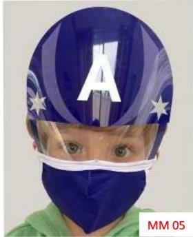 Máscara Proteção Facial Infantil com Face Shield - Capitão America Poliester e Algodão