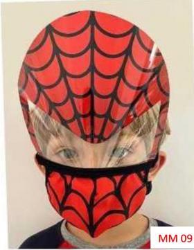 Máscara Proteção Facial Infantil com Face Shield - Homem Aranha Poliester e Algodão