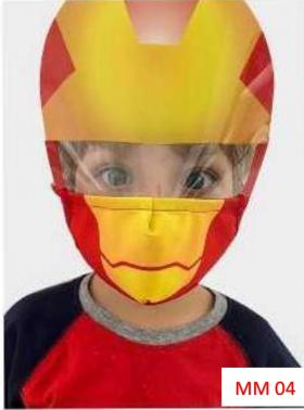 Máscara Proteção Facial Infantil com Face Shield - Homem de ferro Poliester e Algodão