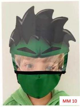 Máscara Proteção Facial Infantil com Face Shield - Hulk Poliester e Algodão