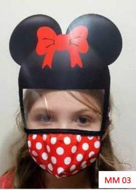 Máscara Proteção Facial Infantil com Face Shield - Minnie Poliester e Algodão