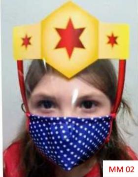 Máscara Proteção Facial Infantil com Face Shield - Mulher Maravilha Poliester e Algodão