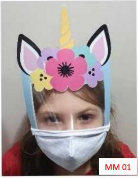 Máscara Proteção Facial Infantil com Face Shield - Unicórnio Poliester e Algodão