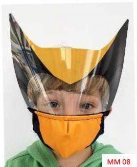 Máscara Proteção Facial Infantil com Face Shield - Wolverine Poliester e Algodão