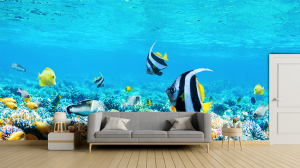 Papel de Parede Personalizado Fundo do Mar Vinil Adesivo    Refile Reto
