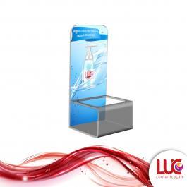 Suporte em Acrílico para Álcool Gel   Personalizado Acrilico 3MM 10,5 x 36 cm   Vinil Adesivo